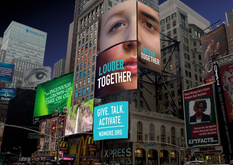 Digital signs on Times Square, depicting brand visibility